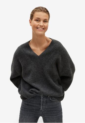 Mango grey V-Neck Sweater 0E502AAD6B532CGS_1