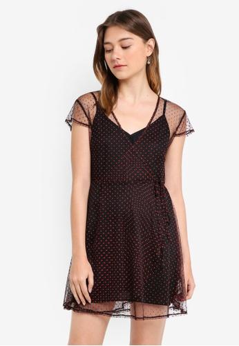 Something Borrowed black Sheer Wrap Dress 5B982AA3CC58F7GS_1