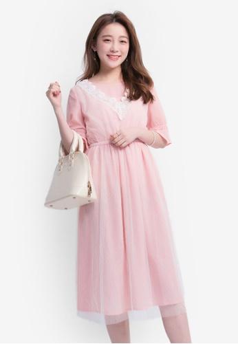 YOCO pink Dress With Tulle Skirt YO696AA0SZUZMY_1
