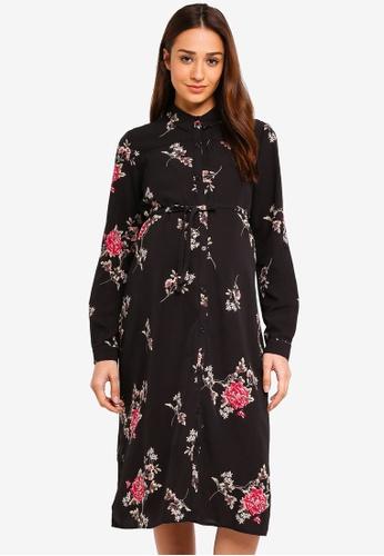 JoJo Maman Bébé black Maternity Floral Long Shirt Dress 1CF9DAA9C250F9GS_1