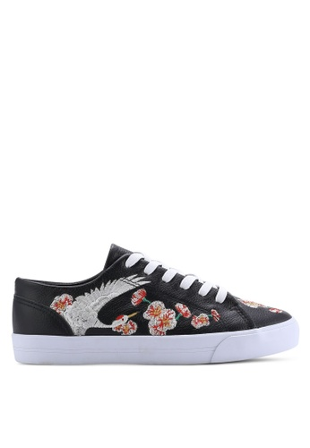 TOPSHOP black TULIP Embroidered Trainers TO412SH68VUTMY_1