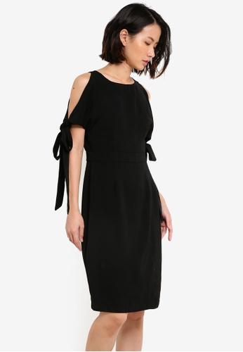 ZALORA black Tie Sleeve Wrap Front Dress 49492AA0DB6916GS_1