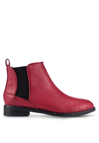 ZALORA 紅色 Chelsea 靴子 with 小 螺栓 細節 5913CZZEEE5D0FGS_1