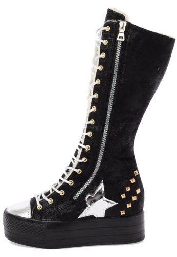 Maxstar C50 568 Inside Fur Synthetic Leather Studed Black Plarform Long Boots US Women Size MA168SH35DJOHK_1