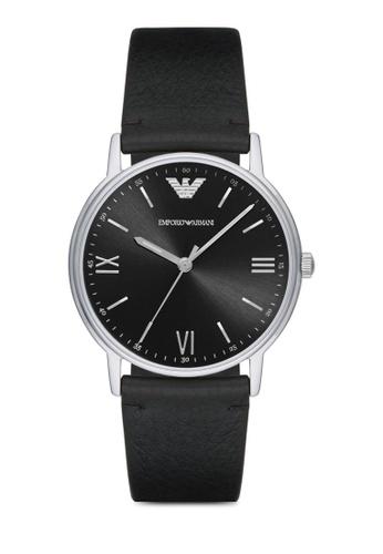 ARMANI black Armani Kappa Black Leather Watch AR024AC31ZQIMY_1