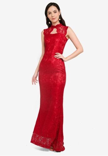Megane red Red Romance Carmine Lace Dress 86826AADD7C234GS_1