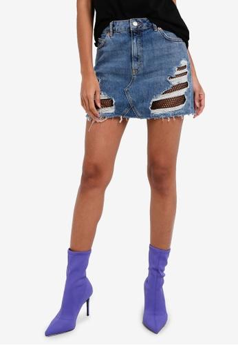 TOPSHOP blue MOTO Fishnet Rip Denim Mini Skirt TO412AA0RSN0MY_1