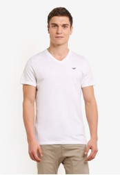 Hollister white Pop Icon V Neck T-Shirt HO422AA0SBP0MY_1