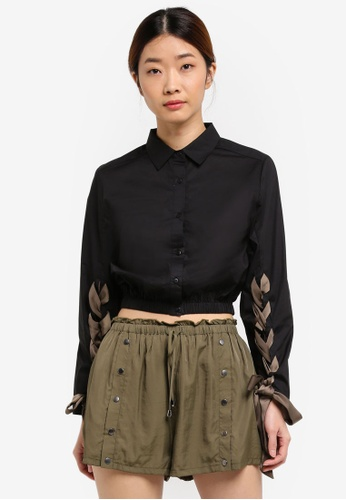 Something Borrowed black Lace-Up Crop Shirt ECB92AA698E810GS_1
