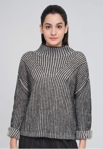 SISLEY 多色 立領素色羊毛針織衫 BEDF9AAAA00F6EGS_1