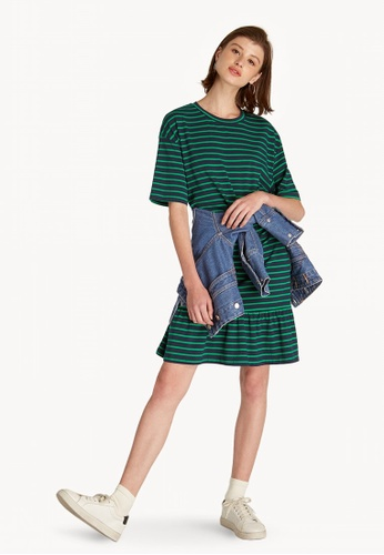 3472a8ea64a91 Buy Pomelo Striped Ruffle Trim Dress - Green Online on ZALORA Singapore