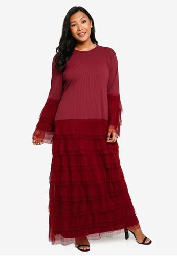 CURVA FABULOUS red Bellerina Tulle Layered Maxi Dress 83AA1AA3F22698GS_1