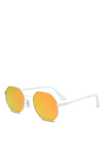 River Island white White Hexagon Orange Mirror Lens Sunglasses ECCEBGL78C66BBGS_1