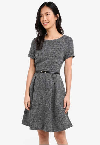 ZALORA grey Textured Fit & Flare Dress With Belt 06708AAB806BA6GS_1