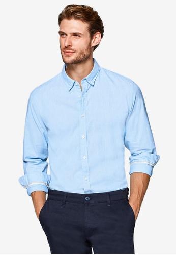 ESPRIT 藍色 長袖條紋襯衫 0DCF0AACAE746FGS_1