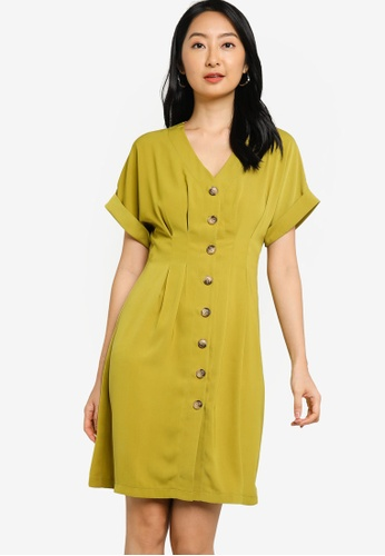 ZALORA BASICS yellow Pleated Detail Button Down Dress EF48EAAE149F7EGS_1