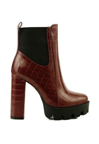 London Rag brown Croc Print Block Heel Boot 46409SH44EE16CGS_1