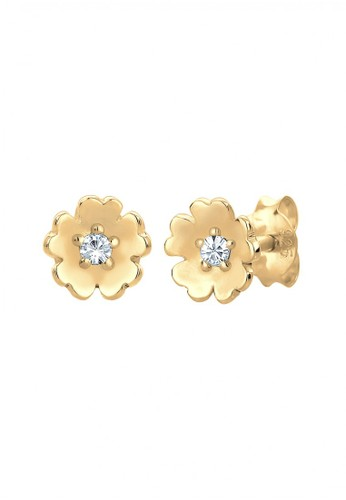 Elli Germany gold Perhiasan Wanita Perak Asli - Silver Anting Bunga Crystal Gold Plated EL948AC0UBN0ID_1