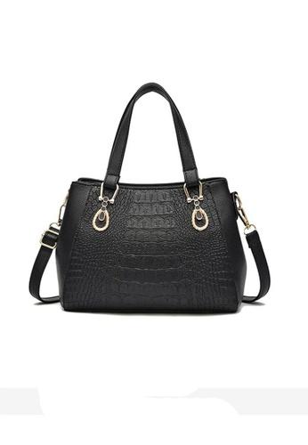 Lara black Women's Wear-resistant Crocodile Embossed PU Leather Zipper Handbag Shoulder Bag - Black 481BDACF8DB63EGS_1