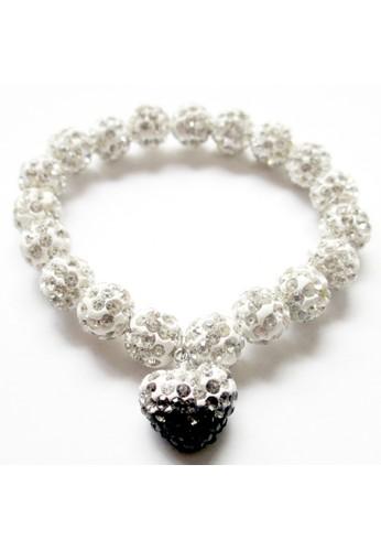 San Marco black and white Dingle Dangle Hearts Bracelet Black SA720AC0VVYTID_1