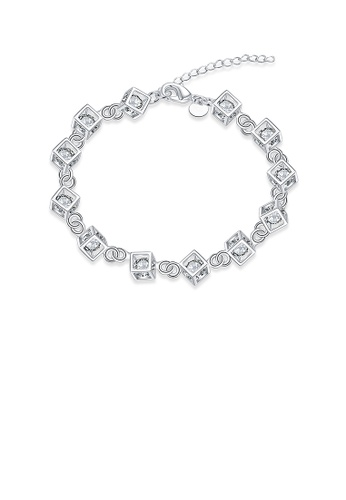 Glamorousky white Simple Geometric Square Bracelet with Austrian Element Crystal 6928DACAC9B2A5GS_1
