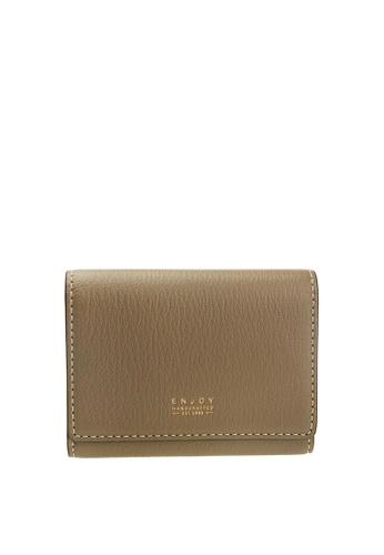 Enjoybag beige Smart Core`s Italian Goat Leather Smart Core Card Holder EN763AC89COGHK_1