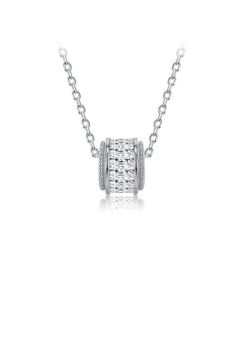 Glamorousky white 925 Sterling Silver Simple Geometric Cylindrical Pendant with Cubic Zircon and Necklace ABDFEACA6866D8GS_1