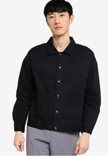 ZALORA BASICS black Twill Tri Pocket Detail Shacket 9B756AABAE1AA5GS_1