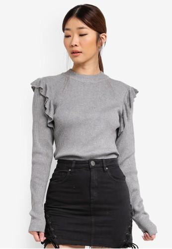 Factorie grey Ruffle Shoulder Rib Knit Top FA880AA0SKI5MY_1