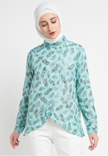 AZZAR blue and multi Abiona Assymetrical Blouse 1654AAAD2C659BGS_1