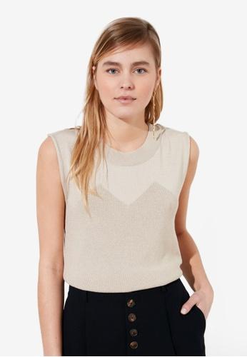 Trendyol beige Knitted Sleeveless Top 7C4B4AA4769E74GS_1