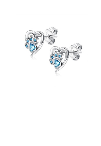 Glamorousky blue 925 Sterling Silver Cute Simple Heart-shaped Dog Claw Stud Earrings with Blue Cubic Zirconia F4485ACA088023GS_1