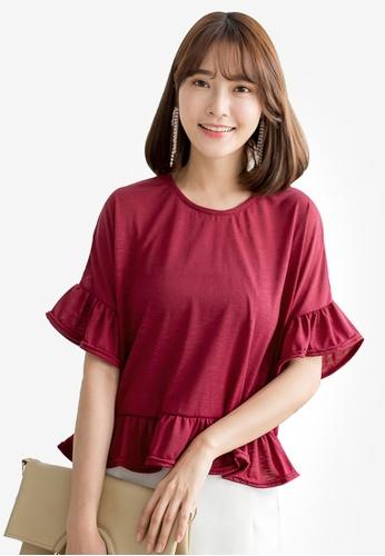 Tokichoi red Textured Frill Hem Crop Top 90E7DAAE5E74ACGS_1