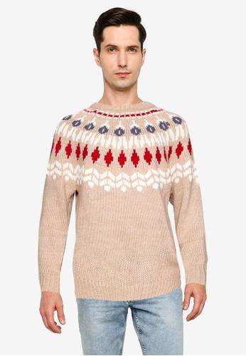 niko and ... brown Geometrical Pattern Sweater 85936AA1FFB092GS_1