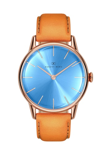 August Berg blue Serenity Sky Blue Rose Gold - Light Brown Leather 32MM B0D68ACC9DC454GS_1