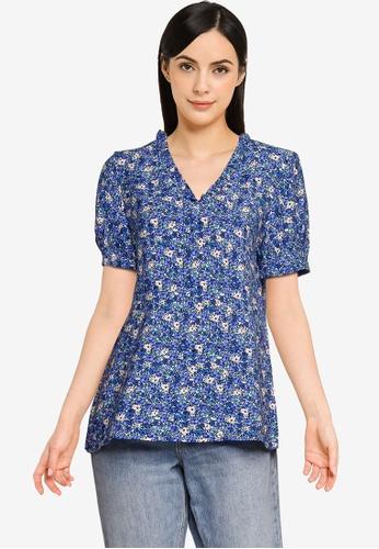 Vero Moda blue Ellie Short Sleeves Blouse 69B9AAAD20AAABGS_1