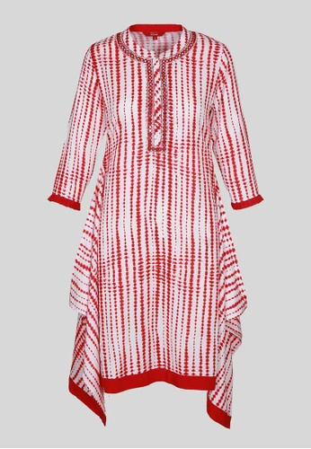 Le Reve white and red LE REVE Women Red & White & Maroon Trail Cut Tunic 06CBDAAFBF12A9GS_1