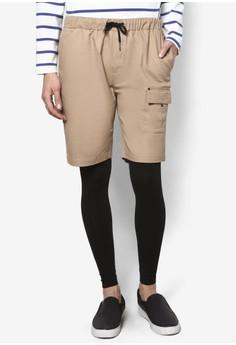 【ZALORA】 拼布口袋抽繩五分短褲