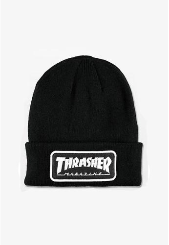 9f9e8bea459 Thrasher black Thrasher Logo Patch Beanie Black FE929AC83BE6F9GS 1