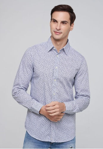 United Colors of Benetton blue Printed Shirt B4031AAF2585EAGS_1