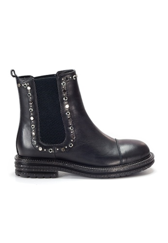 Shu Talk 黑色 Amaztep 閃亮型格真皮短靴 82447SH763C660GS_1