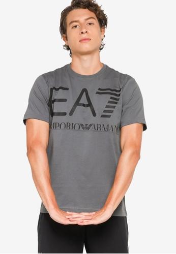 EA7 grey Train Logo Series Oversize Logo Tee 8BE9AAA0605D10GS_1