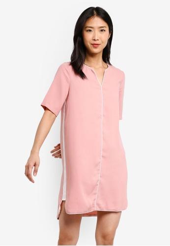 ZALORA BASICS pink Basic Contrast Notch Neck Dress 36D01AAAAA61F0GS_1