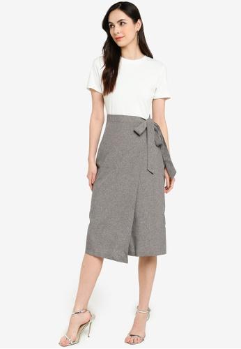 ZALORA WORK multi Contrast Fabric Midi Wrap Dress DDABBAAFC13497GS_1