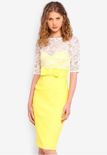 Vesper yellow and multi Amora Lace Midi Dress 337FAAAA9B9B90GS_1