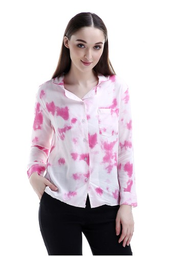 Evernoon pink Oakley Long Shirt Tie Dye Design Simple Kemeja Atasan Wanita Fashionable - Pink 50237AA3FD560BGS_1