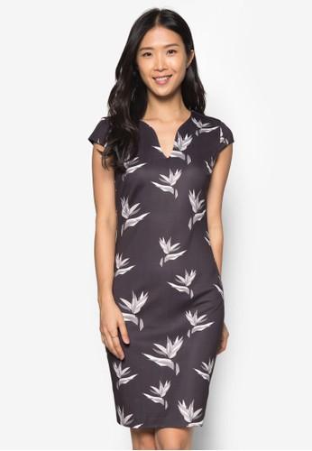 印花V領貼身洋裝, 服飾zalora 包包 ptt, 緊身洋裝