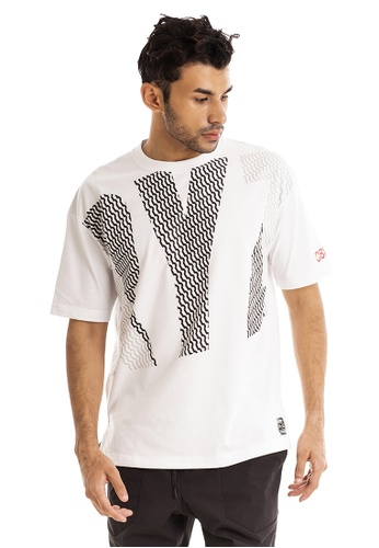 RYZ white RYZ Logo Patterned White Short Sleeve T-Shirt. 0D652AA3F64CB4GS_1