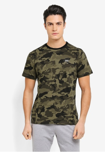 JAXON multi and brown Long Line Camo Logo Tee with Rib Collar EBD19AA3D16C5DGS_1