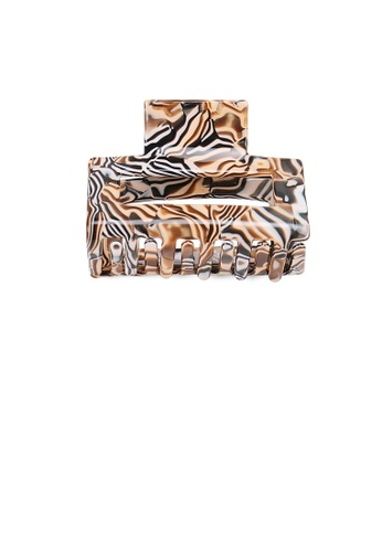 Glamorousky silver Fashion Simple Brown Pattern Geometric Hair Claw 6DDAEACA5CB90EGS_1